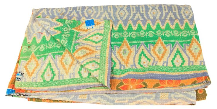 Hand-Stitched Kantha Throw, Jmaat