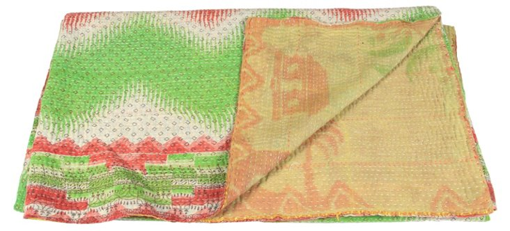 Hand-Stitched Kantha Throw, Honor