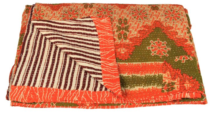 Hand-Stitched Kantha Throw, Tanisi