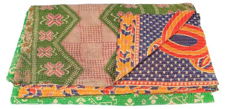 Hand-Stitched Kantha Throw, Jenny