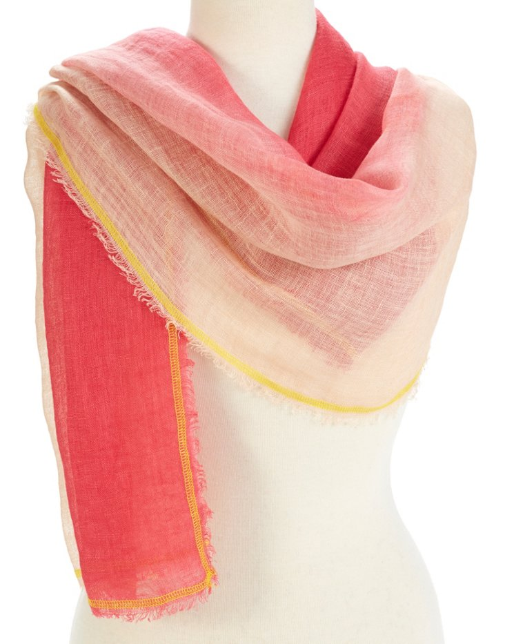 Linen Ombré Neon Scarf, Pink/Rose