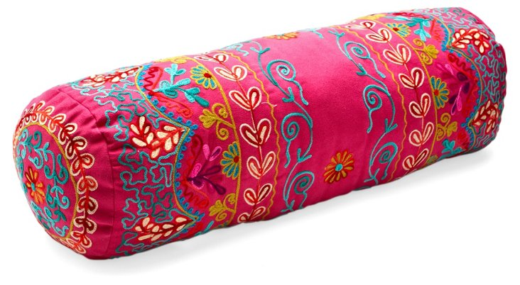 Botany 20x6 Embroidered Pillow, Fuchsia