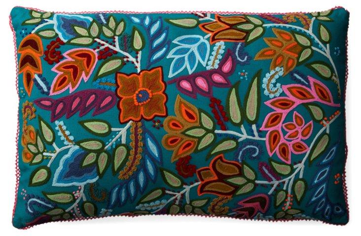 Crewel 16x24 Pillow, Petrol Blue