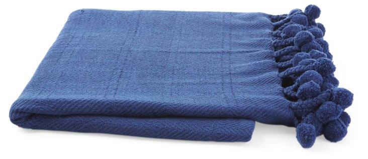 Pom-Pom Cotton Throw, Robin Blue