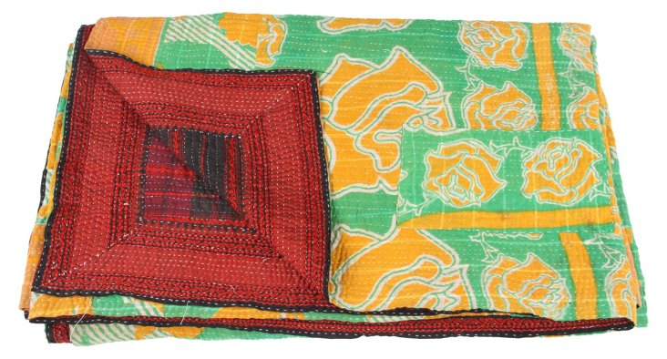 Hand-Stitched Kantha Throw, Amelia