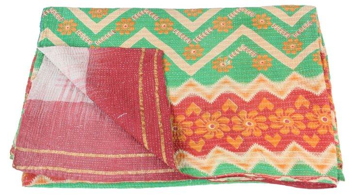 Hand-Stitched Kantha Throw, Gwenyth