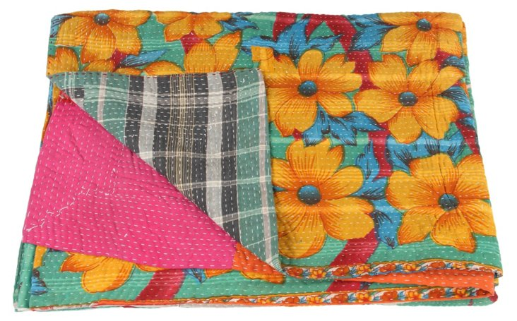 Hand-Stitched Kantha Throw, Shelley