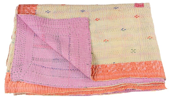 Hand-Stitched Kantha Throw, Grace