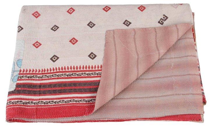 Hand-Stitched Kantha Throw, Desert
