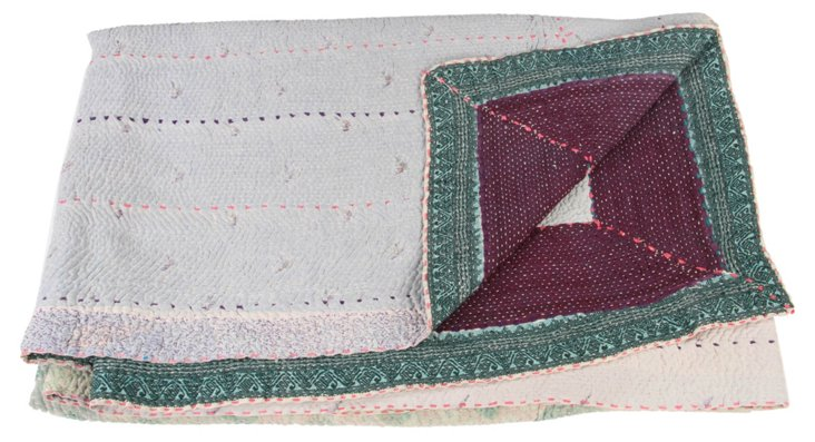 Hand-Stitched Kantha Throw, Charity