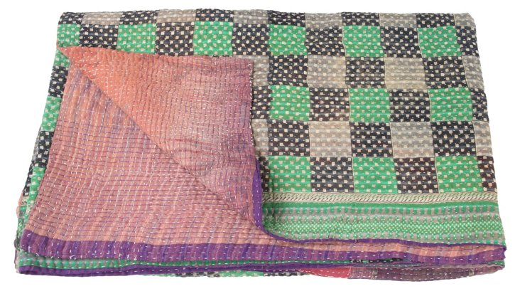 Hand-Stitched Kantha Throw, Laura