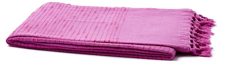 Fringed Cotton Throw, Pink/Purple