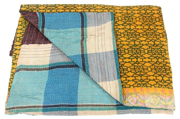Hand-Stitched Kantha Throw, Anne