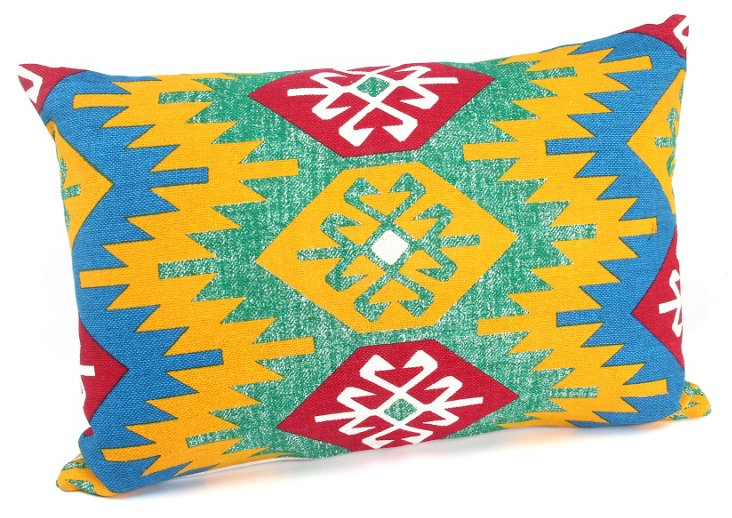 Watermark 16x24 Cotton Pillow, Blue