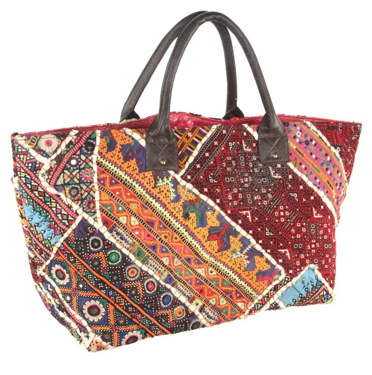 Embroidery Jatti Tote , Bittersweet