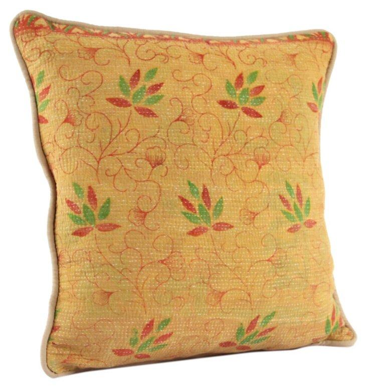 Kantha 20x20 Cotton Pillow, Gina