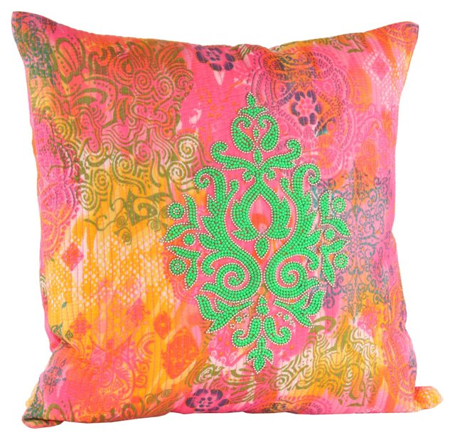 Damask 18x18 Pillow, Green