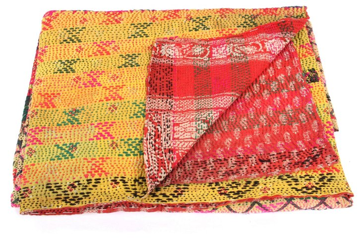 Hand-Stitched Kantha Throw, Navya