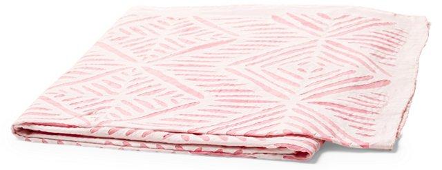 Applique Cotton Throw, Pink
