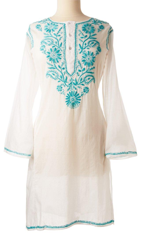 Embroidered Kaftan, Teal