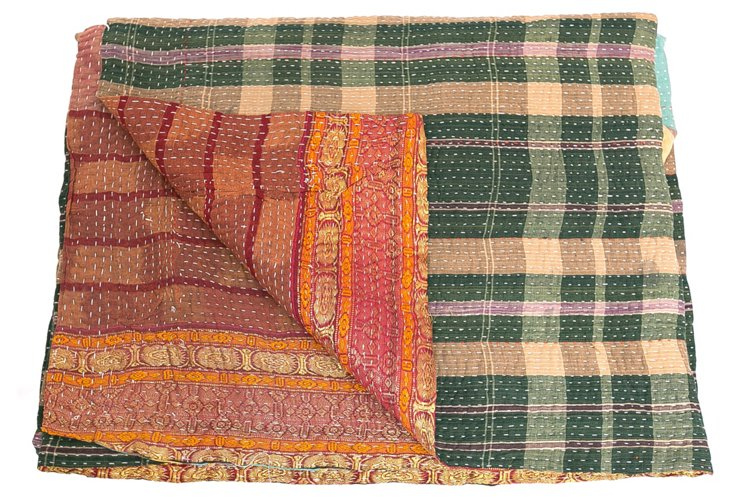 Hand-Stitched Kantha Throw, Kelsey