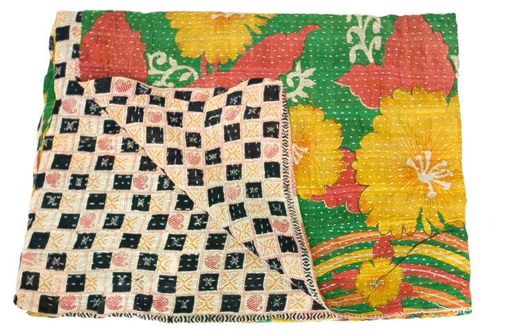 Hand-Stitched Kantha Throw, Simiali