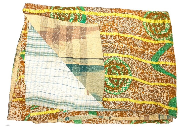 Hand-Stitched Kantha Throw, Ismalia