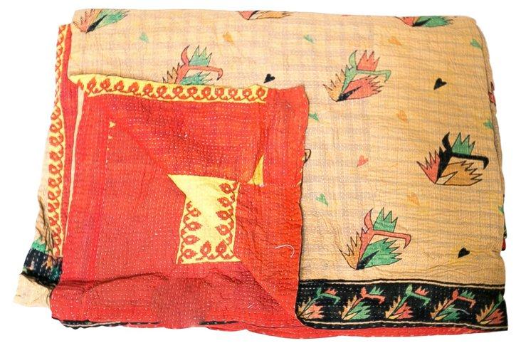 Hand-Stitched Kantha Throw, Jadida