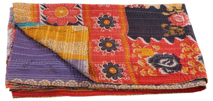 Hand-Stitched Kantha Throw, Lacy