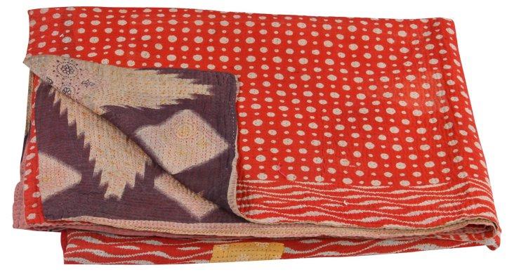 Hand-Stitched Kantha Throw, Globe