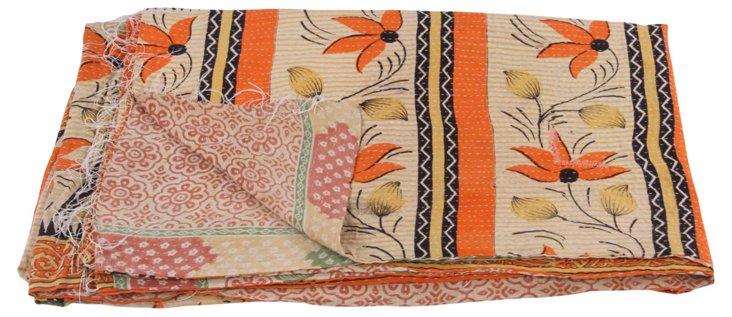 Hand-Stitched Kantha Throw, Trellis