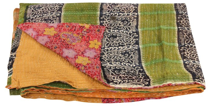 Hand-Stitched Kantha Throw, Daisy