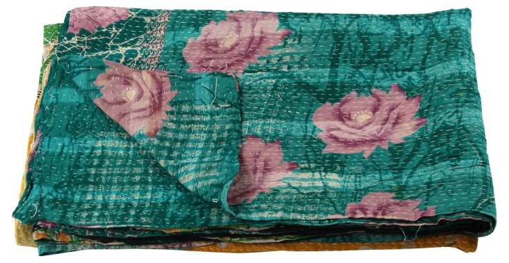 Hand-Stitched Kantha Throw, Valencia