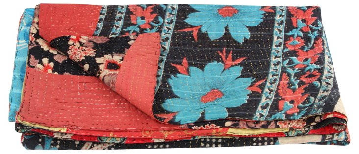 Hand-Stitched Kantha Throw, Brittany