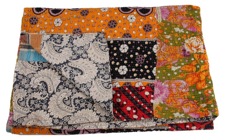 Hand-Stitched Kantha Throw, Stephanie