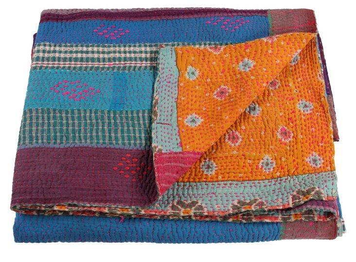 Hand-Stitched Kantha Throw, Ruffles