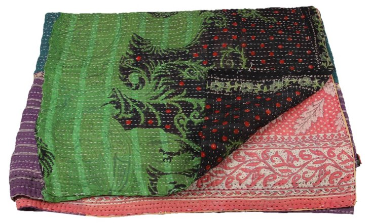 Hand-Stitched Kantha Throw, Trista