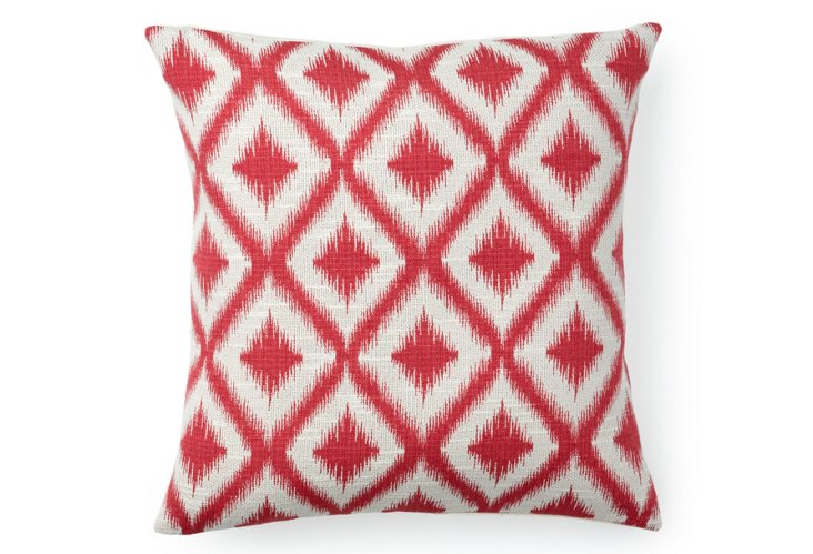 Diamond Ikat 16x16 Pillow, Pink/Gray