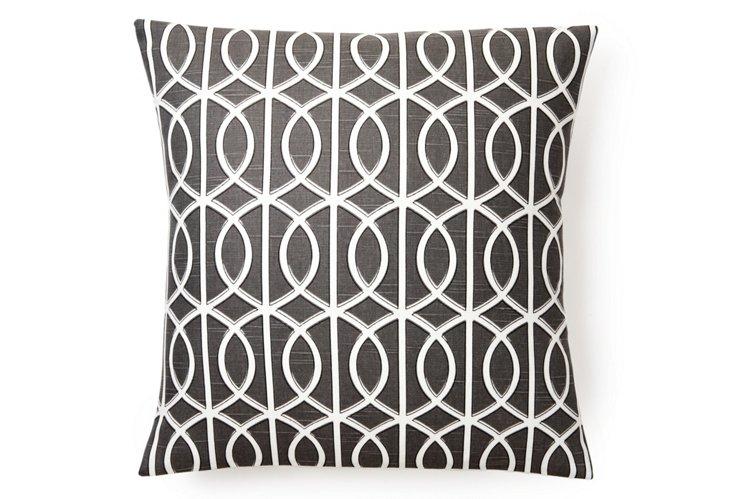 Geo Link 20x20 Pillow, Gray/Cream