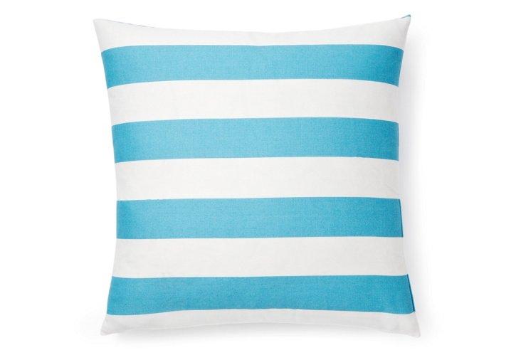 Stripe 20x20 Outdoor Pillow, Blue/White