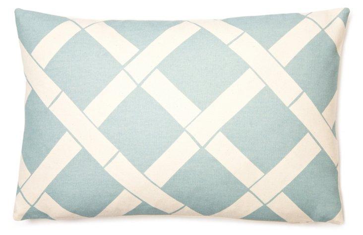 Lattice 12x18 Cotton Pillow, Ice Blue
