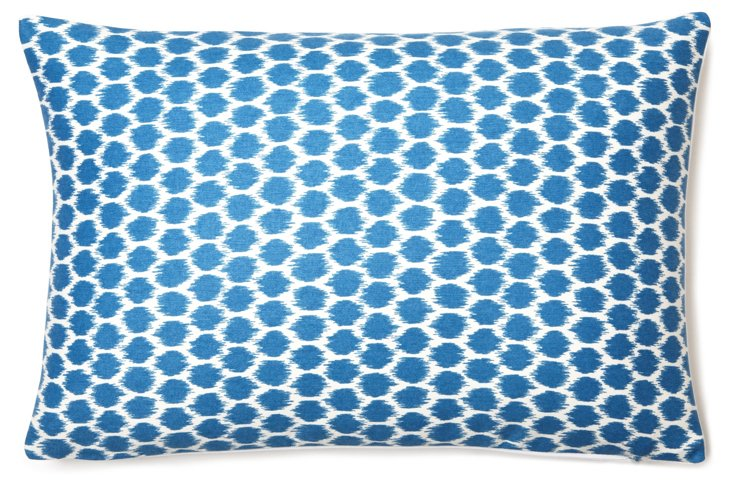 Geo Dot Ikat 12x18 Pillow, Dark Blue