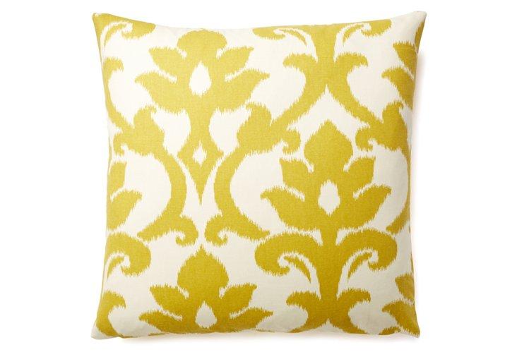 Ikat 20x20 Cotton Pillow, Yellow