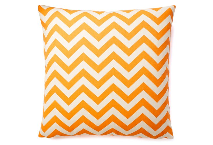 Chevron 20x20 Cotton Pillow, Orange