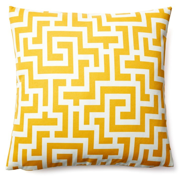 Labyrinth 20x20 Outdoor Pillow, Yellow