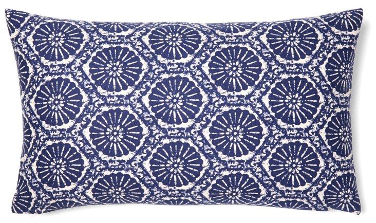 Floral 12x20 Cotton Pillow, Blue
