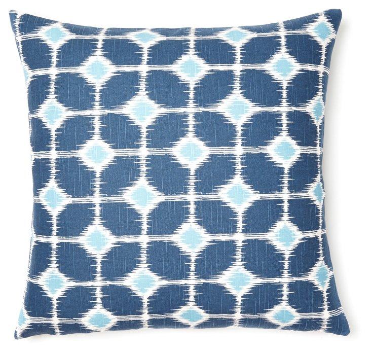 Lara 20x20 Cotton Pillow, Blue