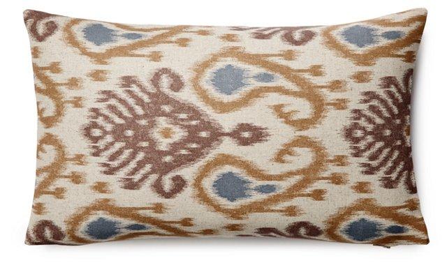Barb 12x20 Linen-Blended Pillow, Neutral
