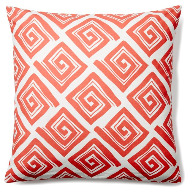 Maze 20x20 Cotton Pillow, Coral