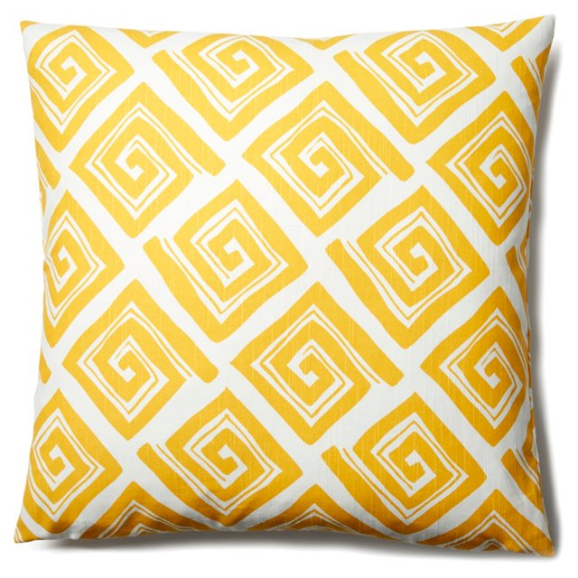 Maze 20x20 Cotton Pillow, Yellow